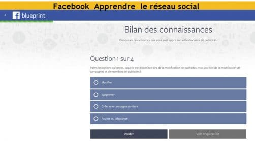 Apprendre Facebook et controler ses connaissances