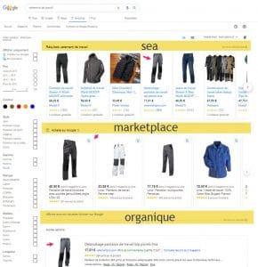 Shopping Gratuit onglet google