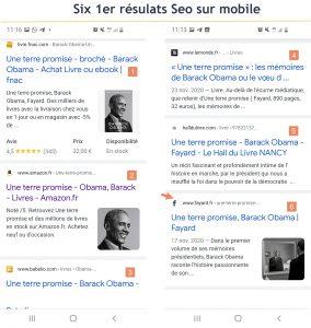 Premiers resultats Seo Google sur mobile