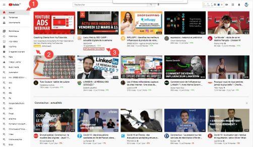 Ecrans Desktop de Youtube