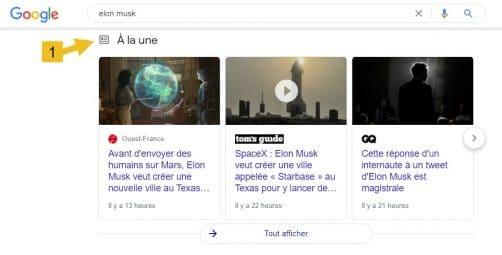 """Résulats enrichis sur article """"a la une"""""""