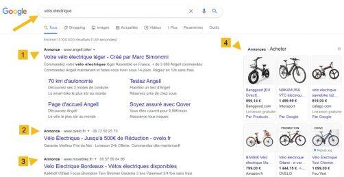 serp google ads payants sur vélo eletrique