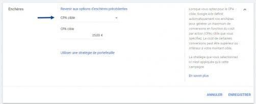 cpa cible google ads