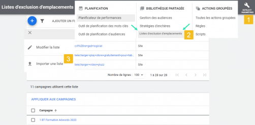 Liste exclusions emplacements