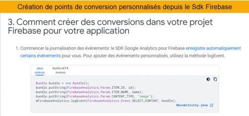 Créer des points de conversions dans google analytics 4