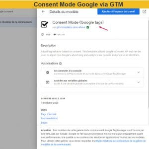 Template du Google Consent mode dans GTM