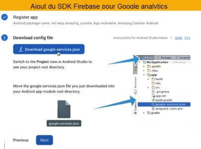installer le sdk firebase plour suivre les utilisateurs