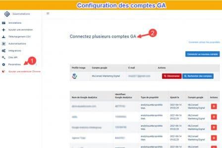 Configuration des comptes ga4