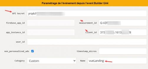 identifiants pour se connecter à la base de donnée GA'